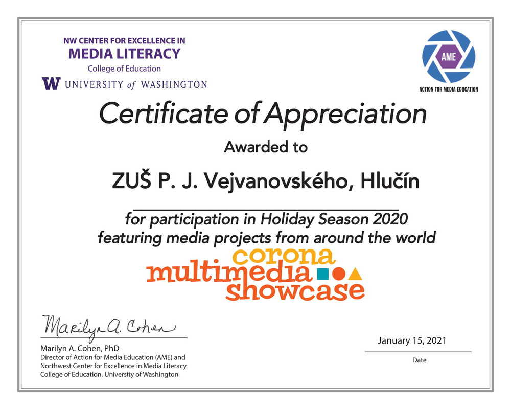 Gallery certificate of appreciation for zu  p. j. vejvanovsk ho 1